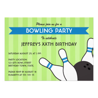 Boys green and blue modern bowling birthday party personalized invitation