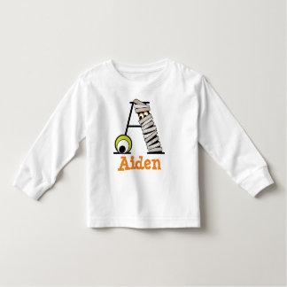 Boys HALLOWEEN Mummy Shirt w Monogram Initial A