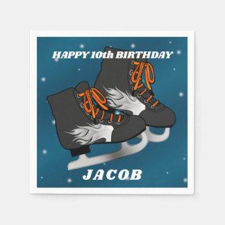 Boy's Ice Skate Birthday Paper Napkin