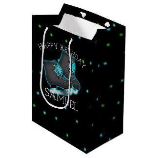 Boy's Ice Skate Birthday Party Personalized Medium Gift Bag
