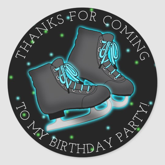 Boy's Ice Skate Birthday Thank You Classic Round Sticker