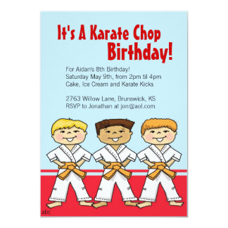 Boys Karate Chop Party Invitations