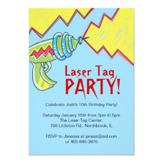 Boys Laser Tag Party Invitations