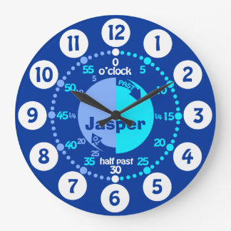 Boys learn to tell time blue named clock