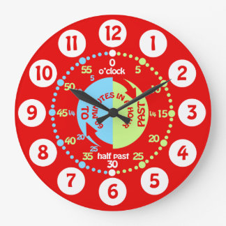 Boys learn to tell time red wall clock