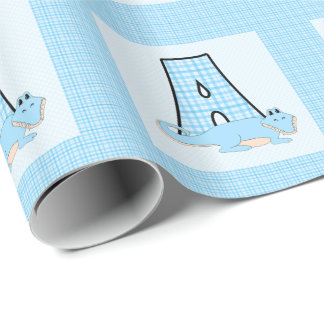Boys Letter 'A' with Alligator and Blue Gingham Wrapping Paper