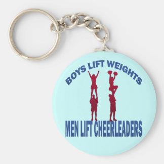 BOYS LIFT WEIGHTS MEN LIFT CHEERLEADERS BASIC ROUND BUTTON KEYCHAIN