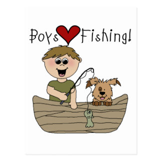Boys Love Fishing Postcard