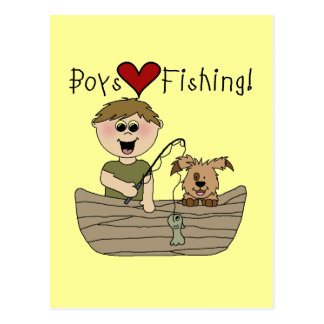 Boys Love Fishing Tshirts and Gifts Postcard