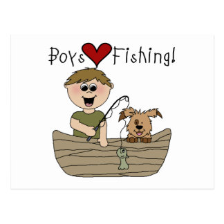 Boys Love Fishing Tshirts and Gifts Post Cards