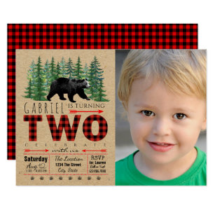 Boys Lumberjack 2nd Birthday Party Invitations