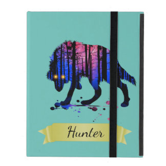 Boys Mens Personalized Trendy Wolf Woods Galaxy Covers For iPad