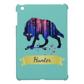 Boys Mens Personalized Trendy Wolf Woods Galaxy iPad Mini Cover
