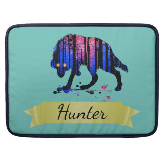 Boys Mens Personalized Trendy Wolf Woods Galaxy Sleeve For MacBooks