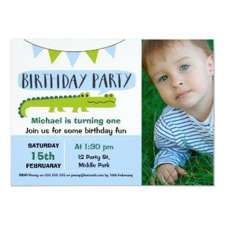 Boys Modern Alligator Birthday Invitation