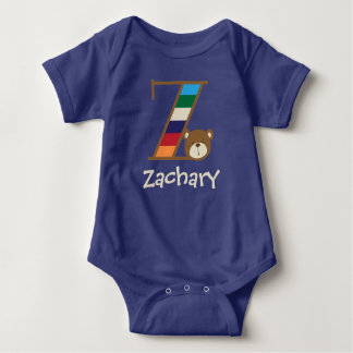 Boys Monogram Bodysuit Blue Boy Bear Shirt Z