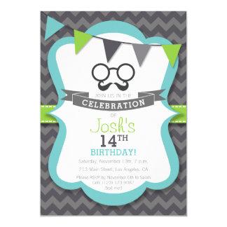 Boy's Mustache Birthday Party Invitation