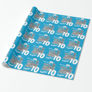 Boys name age 10 train loco blue grey birthday wrapping paper