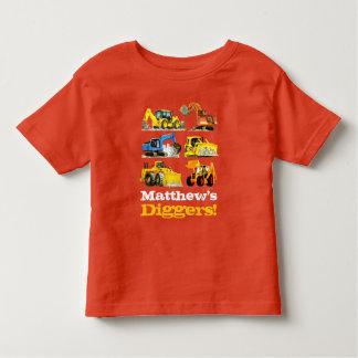 Boys Name Giant Construction Diggers Excavators Toddler T-shirt