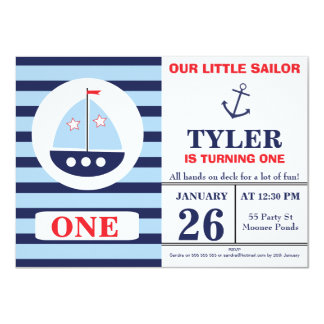 Boy's Nautical Birthday Party Invitation