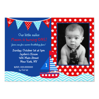 Boys Nautical Sailboat 1st Birthday Invitation