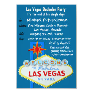 Boys Night Out Vegas Bachelor Party Custom Invitations