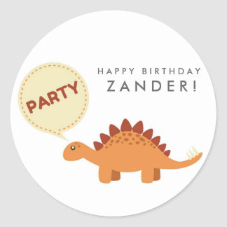 Boys Orange Dinosaur Personalized Birthday Classic Round Sticker