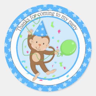 Boys Party Monkey Thank You Round Sticker
