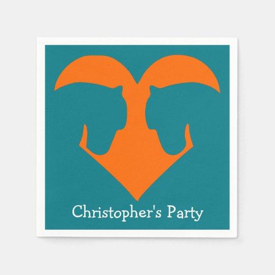 Boys Party Napkins Blue Horse Personalized Disposable Napkin