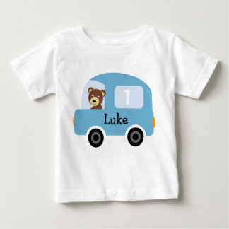 Boy's Personalized Blue Car 1st Birthday T-Shirt