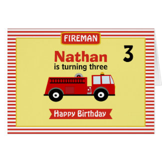 Boys Personalized Fire Engine Birthday Card