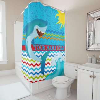 Boys Personalized Name Shark Bath Shower Curtain