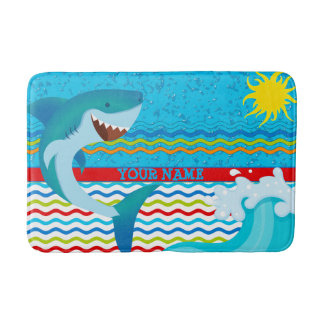 Boys Personalized Name Shark Bathroom Bathmat