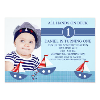 Boys Photo Nautical Birthday party Invitation