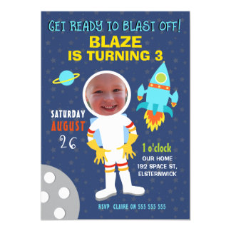 Boys Photo Outer Space Birthday Party Invitation