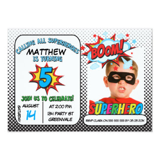Boys Photo Superhero 5th Birthday Invitation