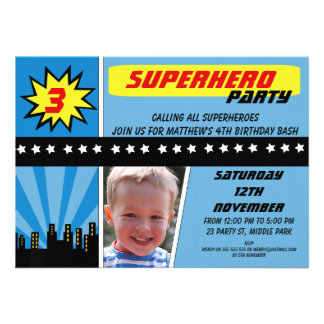 Boys Photo Superhero Birthday Invitation