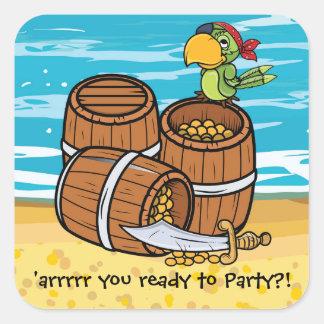 Boys Pirate Birthday Party Invite Treasure Chest Square Sticker