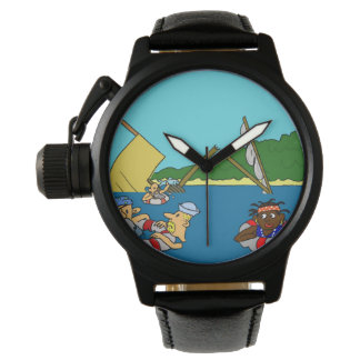 Boy's Pirate Crown Protector Black Leather Watch