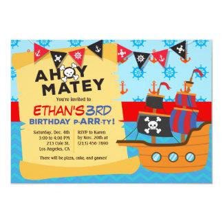 Boy's Pirate Ship Birthday Party Invitation