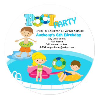 Boy's Pool Party Birthday Invitation
