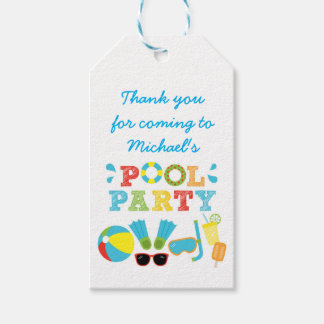 Boys Pool Party Favor Tags Pack Of Gift Tags
