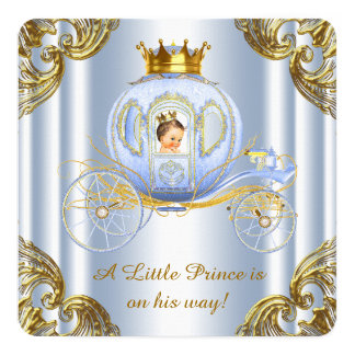 """Boys Prince Royal Carriage Prince Baby Shower 5.25"""" Square Invitation Card"""