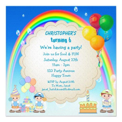 Boy's Rainbow & Cake Birthday Party Invites