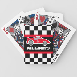 Boys red sports car name age playing cards