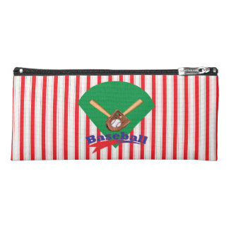 Boy's Red Stripe Baseball Themed Pencil Case