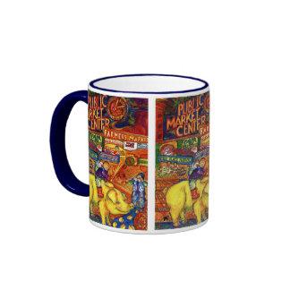 Boys Riding Pig Coffee Mugs