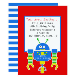 Robot birthday invitations announcements zazzle ca boys robot birthday party invitation filmwisefo Images