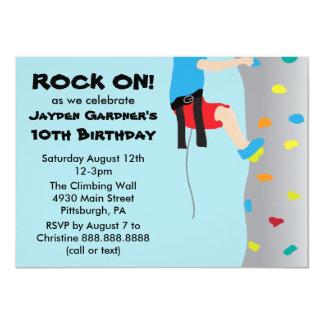 "Boy's Rock Wall Climbing Birthday Party 4.5"" X 6.25"" Invitation Card"