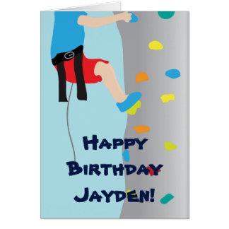 Boy's Rock Wall Climbing Birthday Party Card